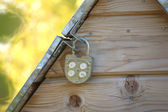 Metal well door closed on padlock — Stockfoto