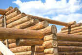 Wooden house construction from logs — Stock Photo