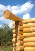Wooden house construction from logs vertical view — Foto Stock