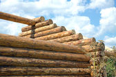 Wooden house construction from logs closeup — Stock Photo