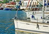 Mooring yachts — Stock Photo
