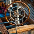 Steering wheel on yacht — Stockfoto