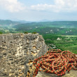 Mountain landscape with alpine rope — Stockfoto