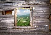 Antigua muralla de madera del marco de ventana — Foto de Stock