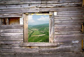 Old wooden wall of window frame — Stockfoto