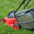 Lawn mower on a green — Stok fotoğraf