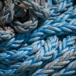 Nylon nautical ropes twisted on a roll — Stock Photo