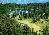 Wild landscape, forest lake Karacol, Altai, Russia — Stock Photo