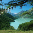 Mountain lake and buddhistic symbol - Foto Stock