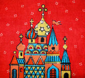 Handmade fabrick, russian tablecloth — Stock Photo