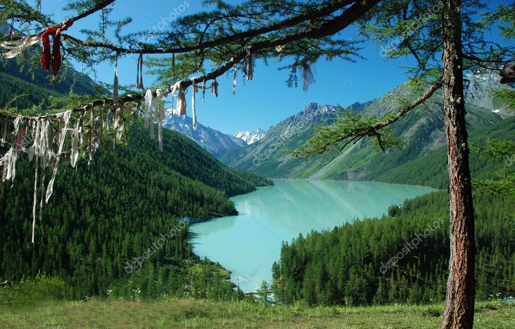 Mountain lake Kucherlinskoe, buddhistic symbol, Altai, Russia  Stock Photo #15450111