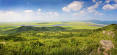 Meadow and coast, Sea of Japan, Primorye, panorama — Stock Photo