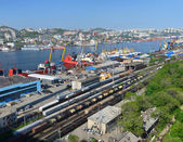 Port Vladivostok, panorama of container terminal, Russia — Stock Photo