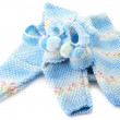 Baby's knitted clothes - 图库照片