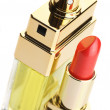 Lipstick and perfume — Stock Photo