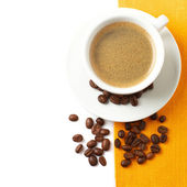 Coffee cup and beans — Stock Photo