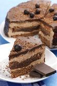 Close-up de bolo de chocolate caseiro — Foto Stock