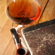 Old books and cognac — Stock Photo #2693132