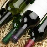 Бутылки вина в соломе — Стоковое фото