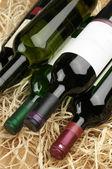 葡萄酒瓶在稻草 — 图库照片