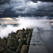 Stock Photo: Breakwater at storm