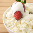 Cottage cheese with garnish — Stock Photo