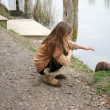 Girl with nutria — Foto Stock