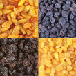 Set of assorted raisins — Stock Photo