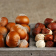 Stock Photo: Hazelnuts in wooden box