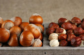 Hazelnuts in wooden box — Stock Photo