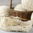 Knitting and yarn — Stock Photo