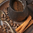 Fresh coffee in cezve — Stock Photo
