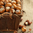 Stock Photo: Hazelnuts in basket