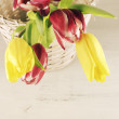 Tulips in basket — Stock Photo #45130897