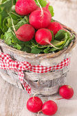 Radish in basket — Stock Photo