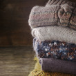 Stack of knitted sweaters — Stock Photo #47240325
