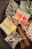 Assorted natural soaps and bath salt — Stockfoto