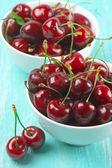 Cherries in bowls — Stock Photo