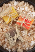 Assorted natural soaps and bath salt — Stock Photo