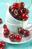 Cherries in cup — Stock Photo