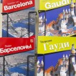 Souvenir shop with city guides and architect Gaudi — Zdjęcie stockowe