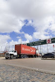A loaded truck leaves Port in Montevideo, Uruguay. — Stock Photo