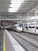 High speed train in Atocha Station — Stok fotoğraf