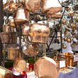 Stock Photo: Selling old copper cookware