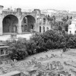 Stock Photo: Panorama of the Roman Forum, monochrome photo.