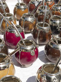 Mate calabash cups sale in San telmo. — Stock Photo