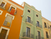 Balconies in Catalonia with the flag of independence. — Stock Photo