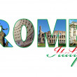 Letters with photos of Rome city, Italy - Stock Photo