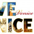 Letters with photos of Venice, Italy - Stock Photo