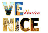Letters with photos of Venice, Italy — Stock Photo